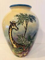"Large 13.5"" Jungle Monkey Giraffe Parrot Floral Ceramic Pottery Art Vase Maxcera"