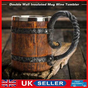 UK 550ml Beer Mug Simulation Crude Wooden Mugs Coffee Tea Cup Wood Gift Tankard