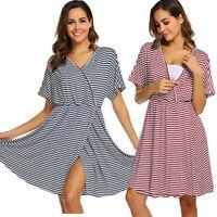 Women Mom Maternity Nursing Pregnancy Loose Striped Short Sleeve Dress Sleepwear