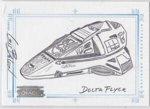 STAR TREK 2002 THE COMPLETE VOYAGER SKETCH SKETCHAFEX DELTA FLYER CRIS BOLSON