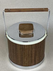 Vintage Kromex Midcentury Modern Faux Wood and Chrome Ice Bucket.             D4