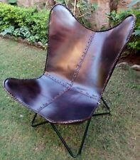 Butterfly Chair Leather Butterfly Chair With Iron Stand Home Garden Indian Art