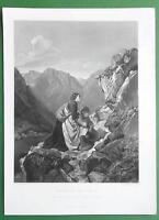 TYROL WOMEN High Alps Prayer to Crucifix on Rock - FINE QUALITY Antique Print
