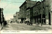 """Antique Postcard   CRAWFORDSVILLE Indiana  """"BUSINESS SECTION""""   OPERA HOUSE?"""