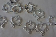 10 Silver Heart Earring Connectors 20x21mm #3820 Combine Post-See Listing