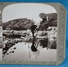 WW1 Stereoview Wounded Officer Carried Across River Aisne Realistic Travels