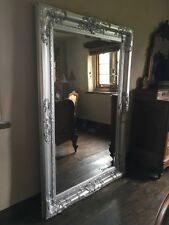 CHATEAU SILVER ORNATE LARGE FRENCH OVERMANTLE BEVELLED WOOD WALL MIRROR 4FT  3FT