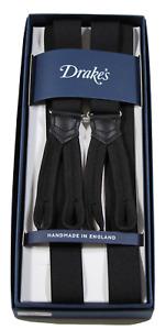 NIB - Drake's – Black Narrow Suspenders, Button-End, Made in England