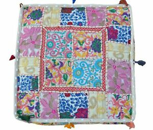 """Handmade Indian Cotton Ottoman Footstool Pouf Cover 18X18X5"""" Inches Patchwork"""