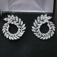 Marquise White Cubic Zirconia Earring Stud Women Jewelry 14K White Gold Plated