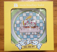 Vera Bradley Baby Dish Set Plate~Bowl~Cup Bear & Bunny NEW In Gift Box