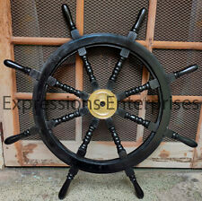 "Black Ship Wheel 36"" Nautical Decorative Brass Helm Maritime Wall Hanging Gift"