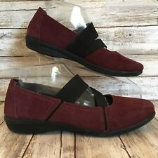 Clarks Womens 7.5M Purple Suede Square Toe Elastic Strap Casual Mary Jane Shoes