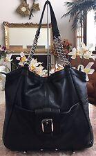B. Makowsky Large Black Pebble Leather Satchel Chain Shoulder Handbag EUC