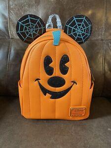 Disney Loungefly Mickey Mouse Pumpkin Jack o' Lantern Halloween Mini Backpack