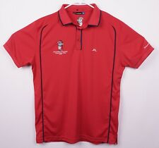 J. Lindeberg Men's Sz Large? Red Embroidered Bull Short Sleeve Golf Polo Shirt