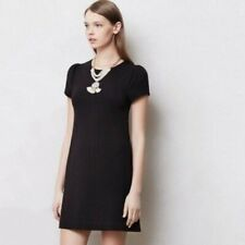 ANTHROPOLOGIE Women's Sz S Maeve Black Shift Cap Sleeve Tunic Dress Textured