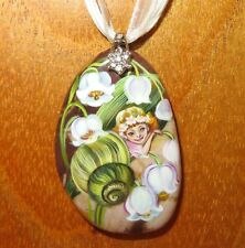 Pendant FAIRY GIRL SNAIL Genuine hand painted Natural stone signed Gorbachova