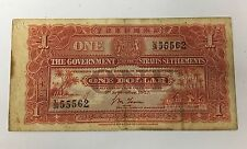 Strait Settlements - Shifted Error 1927 1 dollar | VF with Tear