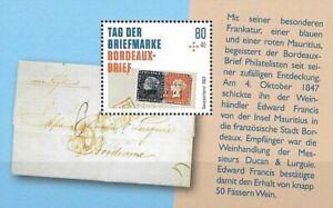 Bund Mi.Nr. Block 88** (2021) postfrisch/Tag der Briefmarke (Bordeaux-Brief)