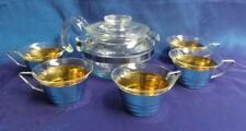 FABULOUS RETRO VINTAGE 6 CUP PYREX TEAPOT WITH 5 GLASS & S/S CUPS USA
