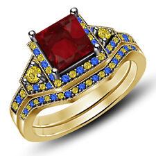 Yellow Gold Finish Multi-Color Stone Princess Disney Engagement Ring Bridal Set
