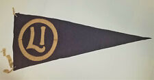 "EARLY 1900'S ANTIQUE WHITE ONBLACK ""L I  WITHIN O"" FELT BANNER PENNANT"