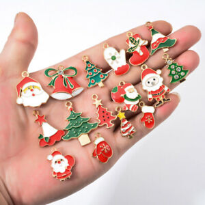 10pcs Mixed Enamel Christmas Gift Sock Tree Charms Pendant for Jewelry Making