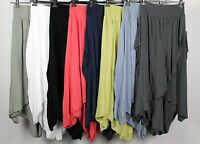 NEW LADIES ITALIAN CULLOTES LAGENLOOK BOHO HAREM BAGGY PLAIN DRAPED TROUSERS