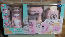 Playgo Pink Gourmet Kitchen Appliances 3 pc set Coffee Maker / Mixer / Toaster