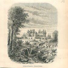 Château Haras national de Pompadour Corrèze Amac GRAVURE ANTIQUE OLD PRINT 1861