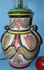 ANTIQUE ITALIAN MAJOLICA FAIENCE HAND PAINTED ART POTTERY LAMP DOUBLE SOCKET