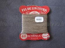 R502 Mercerie vintage ancienne carte FIL DE LIN N°40 VRAU beige  Thread card