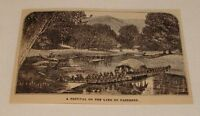 1882 magazine engraving ~ FESTIVAL ON THE LAKE OF CASHMERE