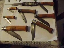 Lot de 8 anciens couteaux de poche pliants Opinel N'3/4/6/7/8/10 + 2  divers