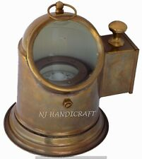 Vintage Marine Binnacle Boat Oil Lamp Brass Nautical Ship Compass Antique Gimbal