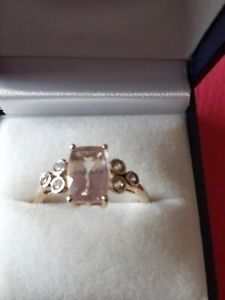 NIGERIAN MORGANITE AND WHITE ZIRCON 9K GOLD RING 2.36CTS. SIZE R