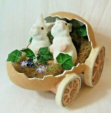 Vintage Paper Mache' Easter Rabbits Riding In A Paper Mache Wheeled Egg 11 X 10