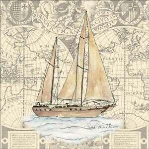 Sailboat Accent & Decor Tile Sara Mullen Nautical Art SM029AT
