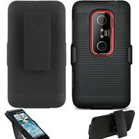 For HTC EVO 3D Rugged Belt Clip Holster+KickStand Combo Swivel Stand Case Cover