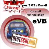 Kurzzeitkennzeichen 5 Tage Kennzeichen Versicherung für PKW Deckungskarte SMS