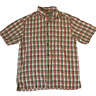Tommy Bahama 100% Silk Red Green Plaid Short Sleeve Shirt Men's Size S
