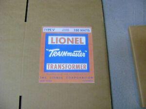 """Lionel """"V"""" Transformer Corrugated Box w/2 inserts for the 150 Watt Transfomer"""
