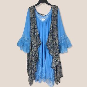 Plus Size Vintage Boho Prairie Sleeveless Blue Duster Cardigan Vest 1XL 2XL