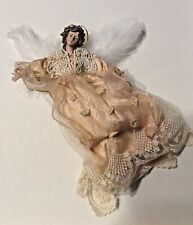 Angel Victorian Christmas Ornament - Peach Lace Feathers Porcelain Angel 12�