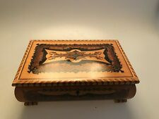 OLDER INLAY STYLE PREMILEX WOOD MUSIC BOX COLONEL BOUGER ? WORKING