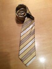 Eterna Men's Tie BNWT Beige Gold Cream Stripe 100% Silk RRP £35 Now £9