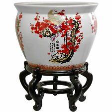 "Oriental Furniture 18"" Porcelain Fishbowl Cherry Blossom"
