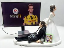 Wedding Cake Topper Video Fifa Gamer Bride and Groom Xbox One/PS4