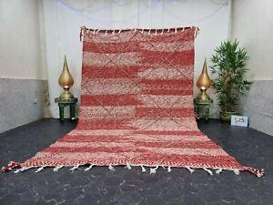 """Moroccan Handmade Kilim Zanafi Rug 6'3""""x10'3"""" Berber Geometric Red White Rug"""